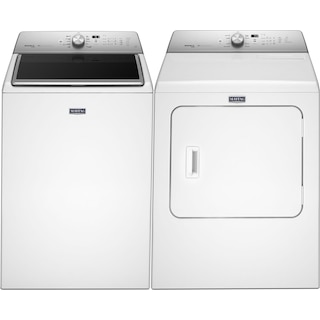 Maytag® 6.1 Cu. Ft. Top-Load Washing Machine and 7.0 Cu. Ft. Steam Gas Dryer - White