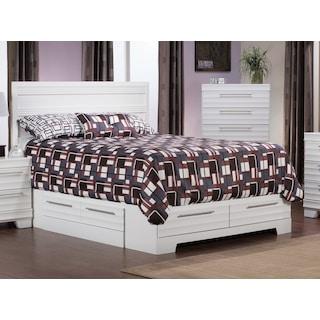 Odense White Queen Storage Bed