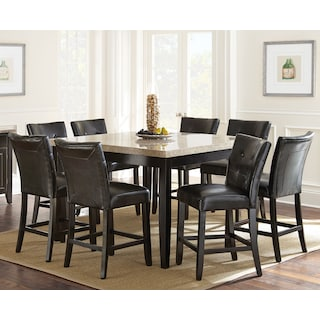 Dursley 9-Piece Pub-Height Dining Package with White Marble Tabletop