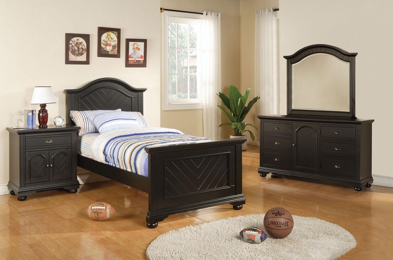 casey black 5 piece twin bedroom package