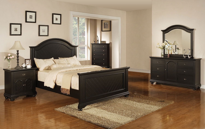 Bedroom Furniture - Casey Black 8-Piece King Bedroom Package