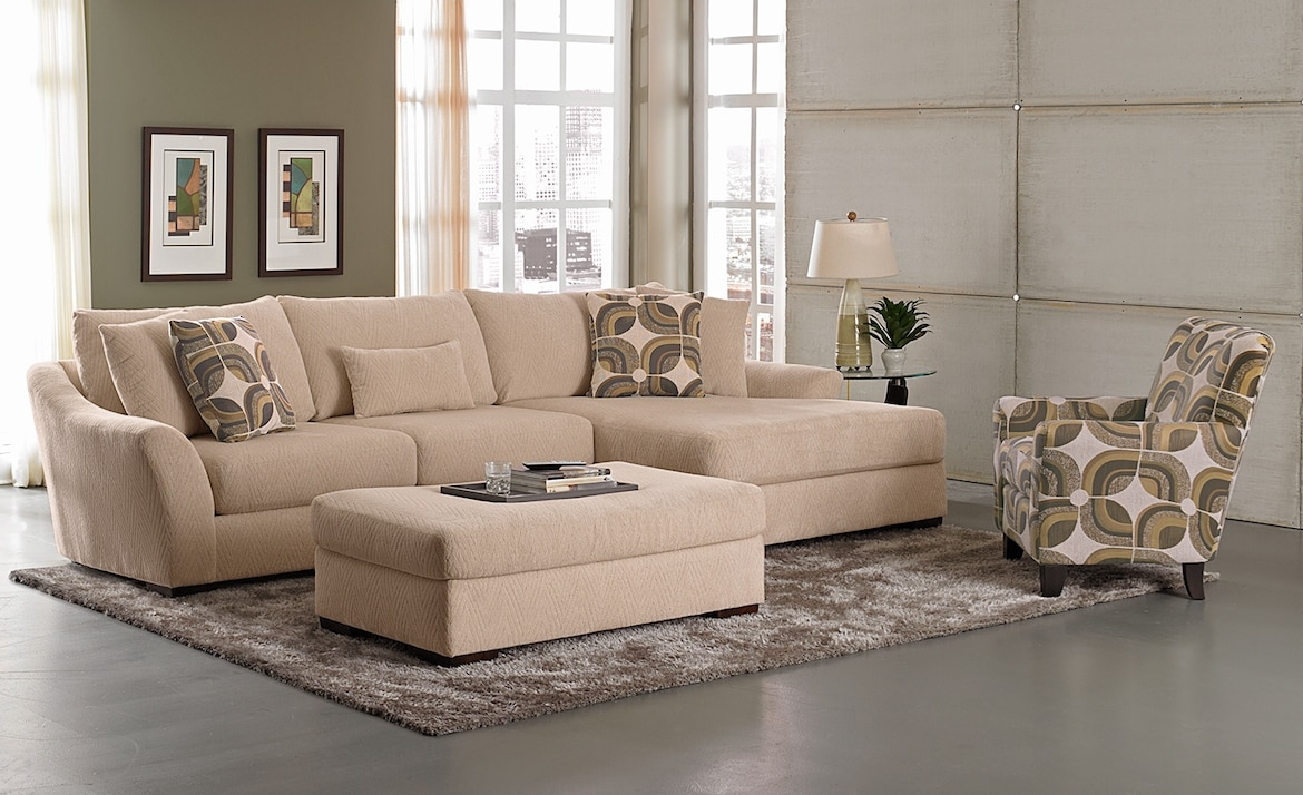 Living Room Furniture - The Orleans Cream Collection - 2 Pc. Sectional