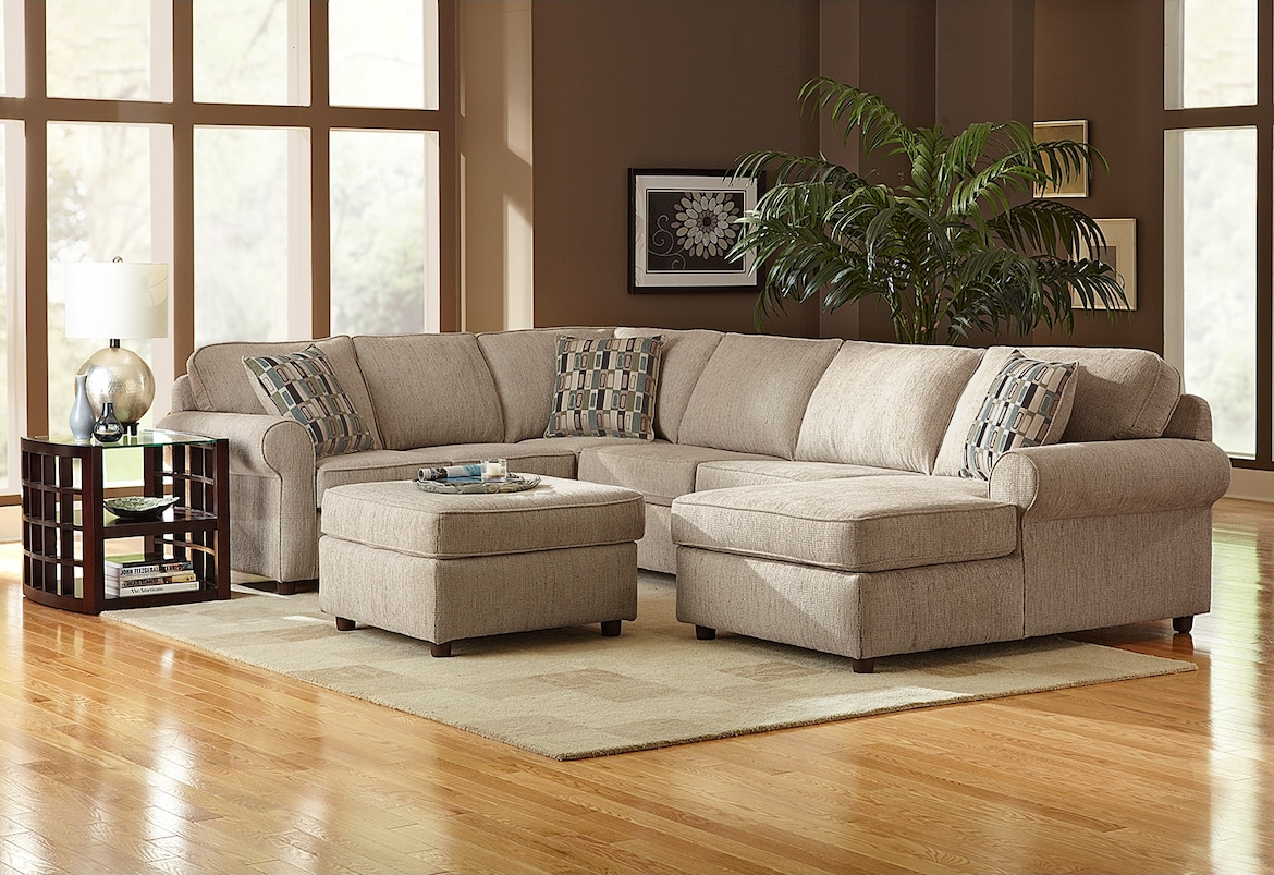 Living Room Furniture - The Salina Taupe Collection - 3 Pc. Sectional