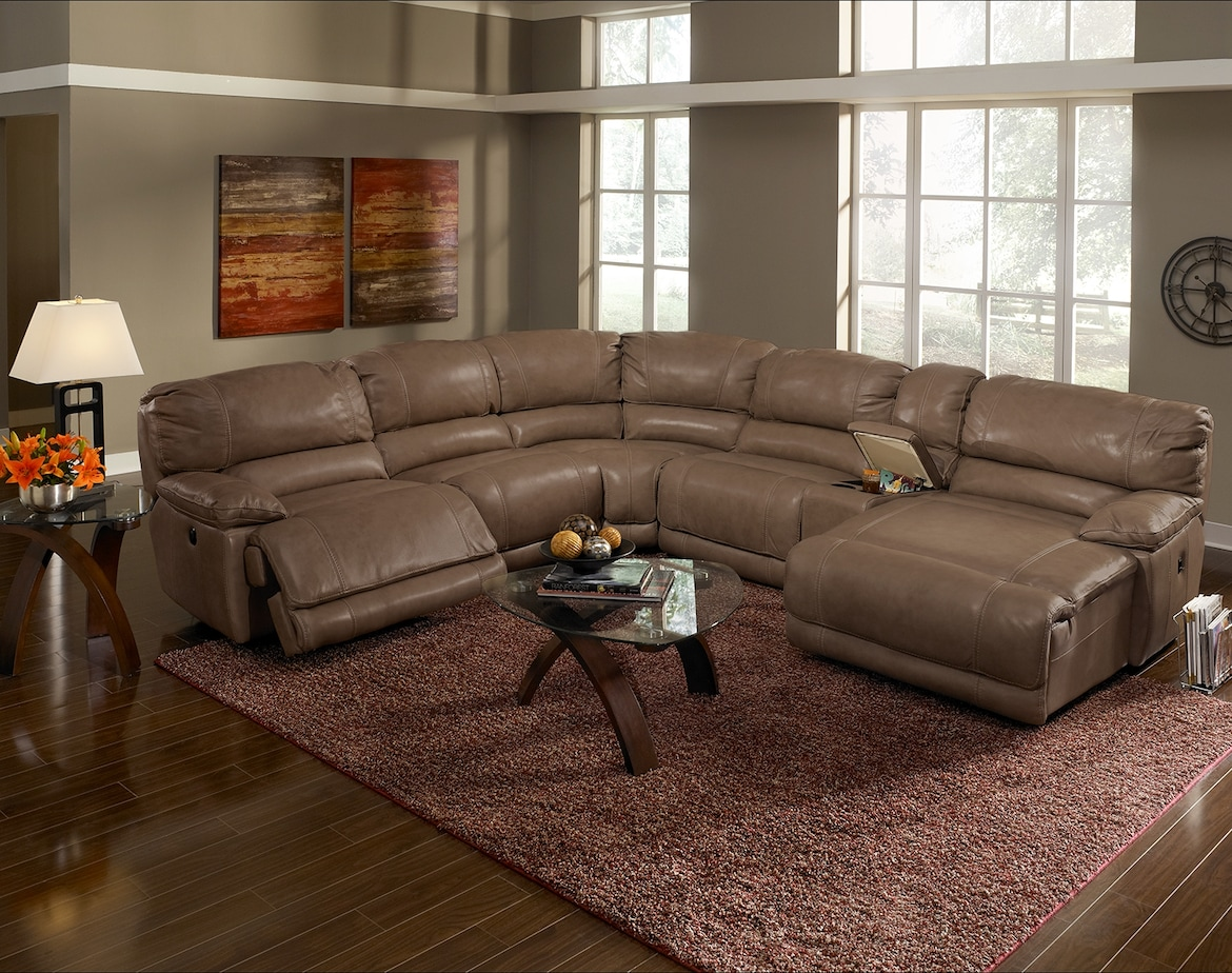 Living Room Furniture - The Clinton Taupe Collection - 6 Pc. Power Reclining Sectional