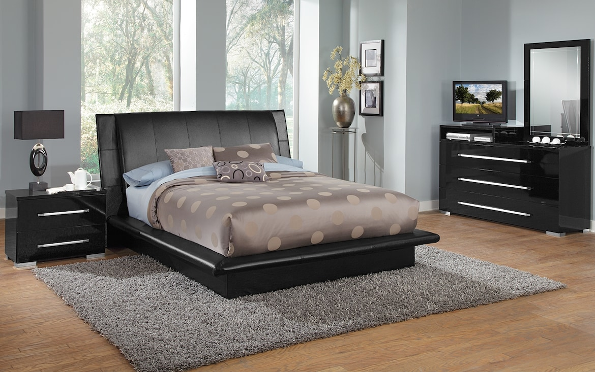 Bedroom Furniture - The Prima Black Collection - Queen Bed