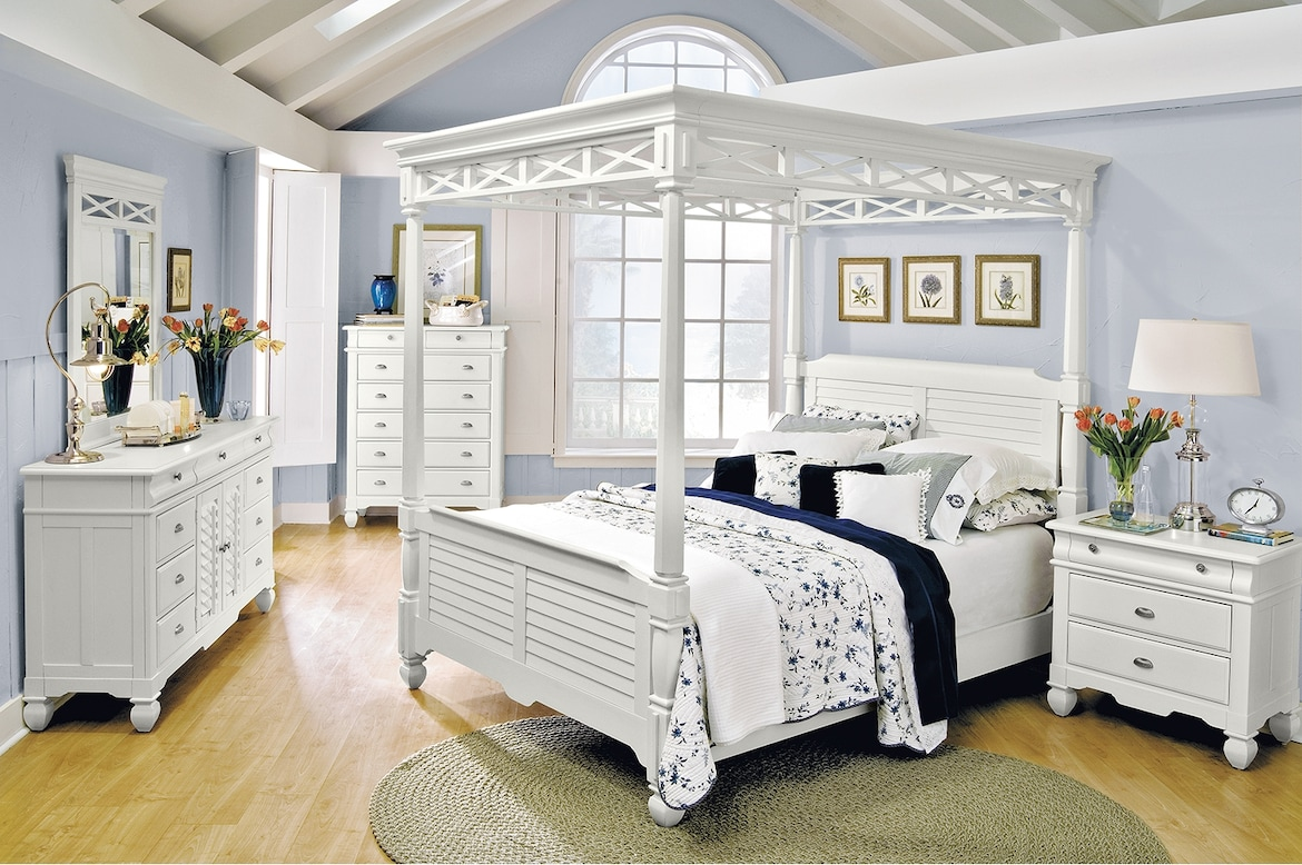 Bedroom Furniture - The Magnolia White Canopy Collection - Queen Bed