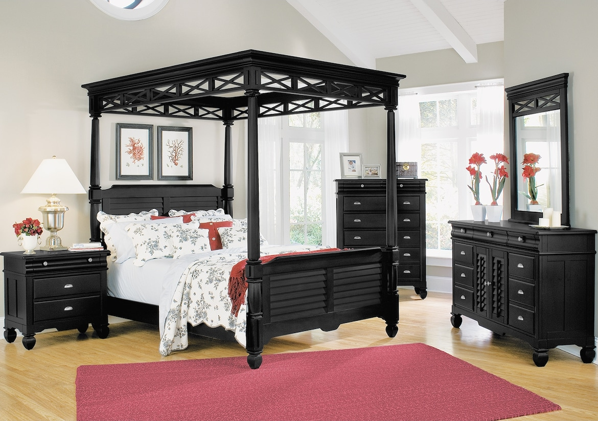 Bedroom Furniture - The Magnolia Black Canopy Collection - Queen Bed