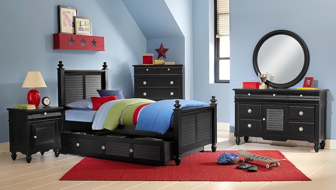 Kids Furniture - The Mayflower Black Collection - Twin Bed