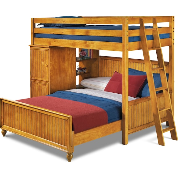Kids Furniture - Riley II Pine Loft Bed with Full Bed