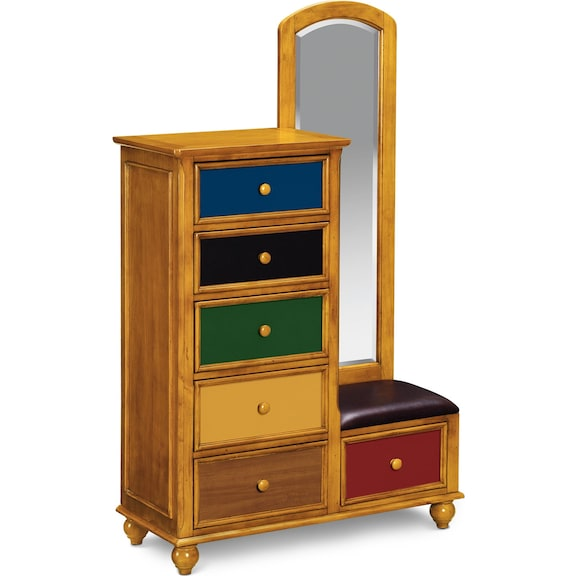 Kids Furniture - Riley Pine Tall Chest & Mirror