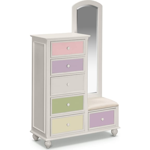 Kids Furniture - Riley White Tall Chest & Mirror