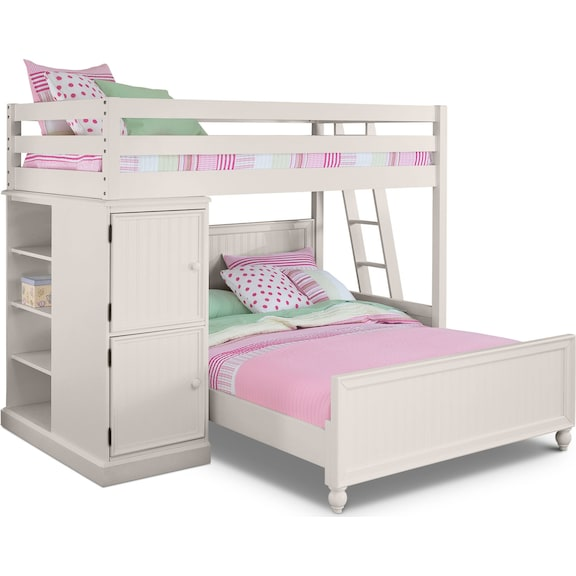 Kids Furniture - Riley II White Loft Bed with Full Bed