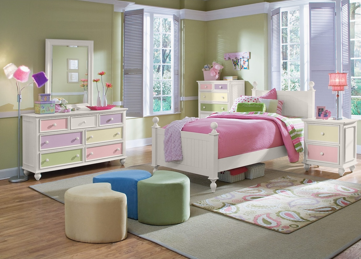 Kids Furniture - The Riley White Collection - Dresser & Mirror