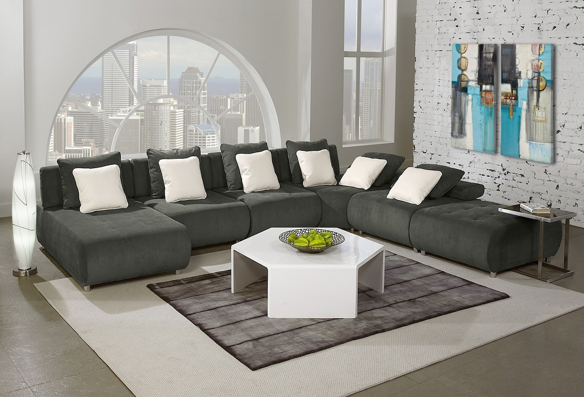 Living Room Furniture - The Avalon Collection - 6 Pc. Sectional