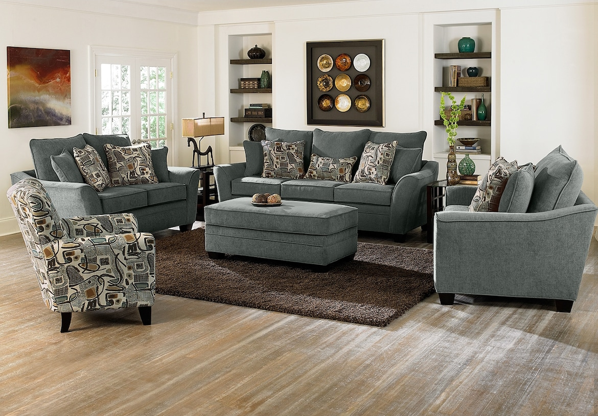 Living Room Furniture - The Albion Blue Collection - Sofa
