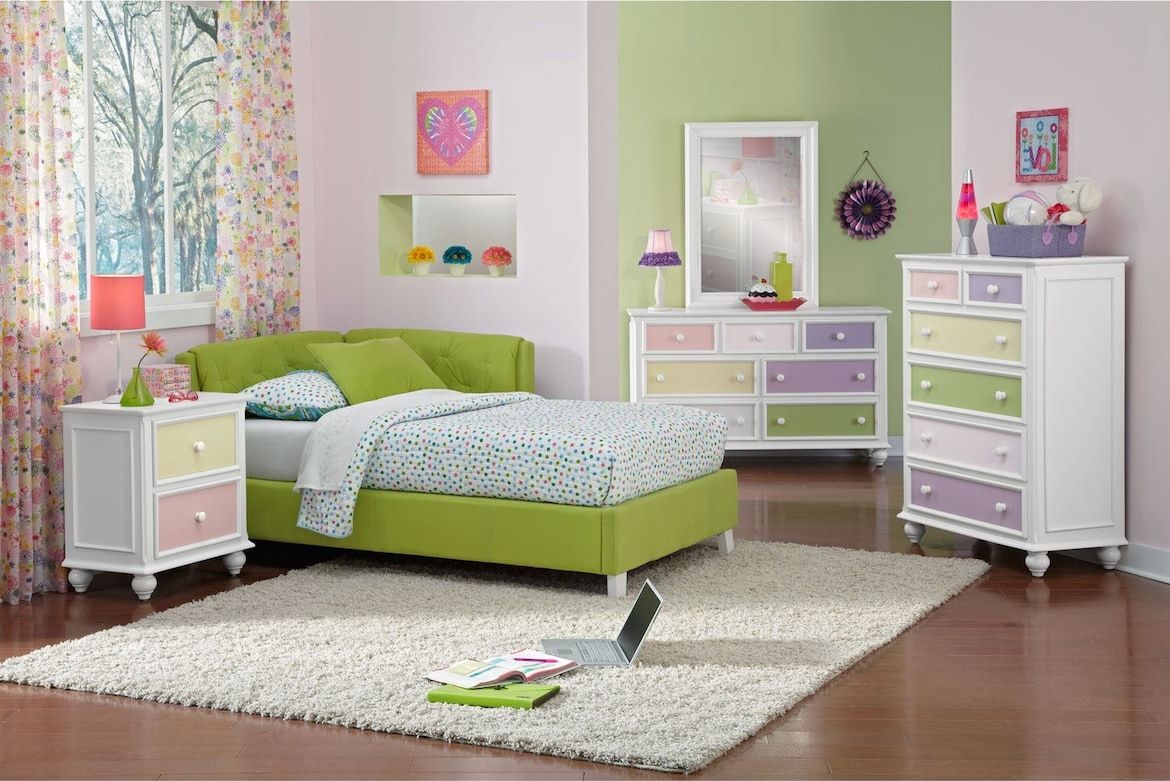 Kids Furniture - The Taylor Green Collection - Twin Corner Bed