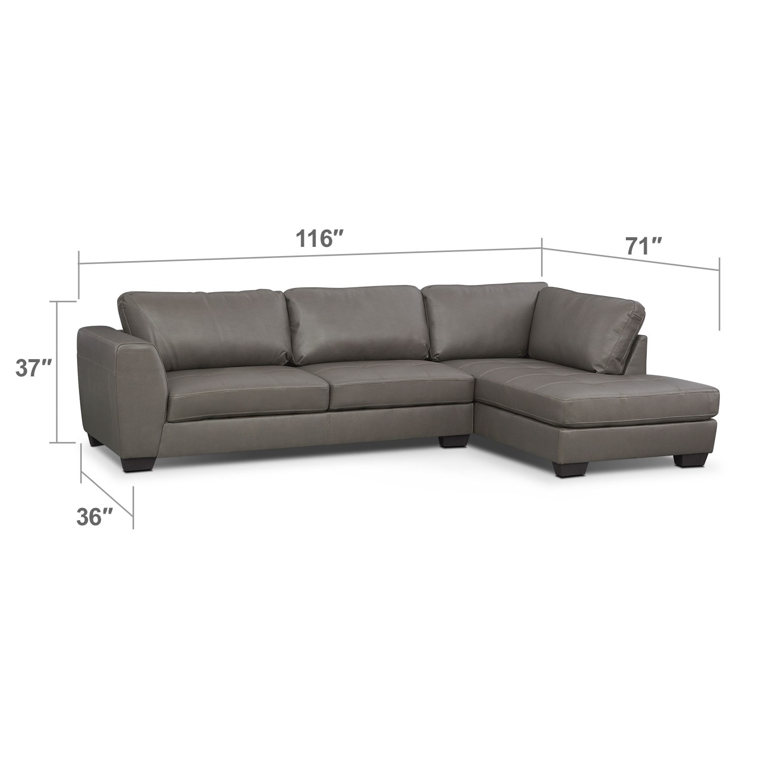 Living Room Furniture - Lyon Gray 2 Pc. Sectional (Reverse)
