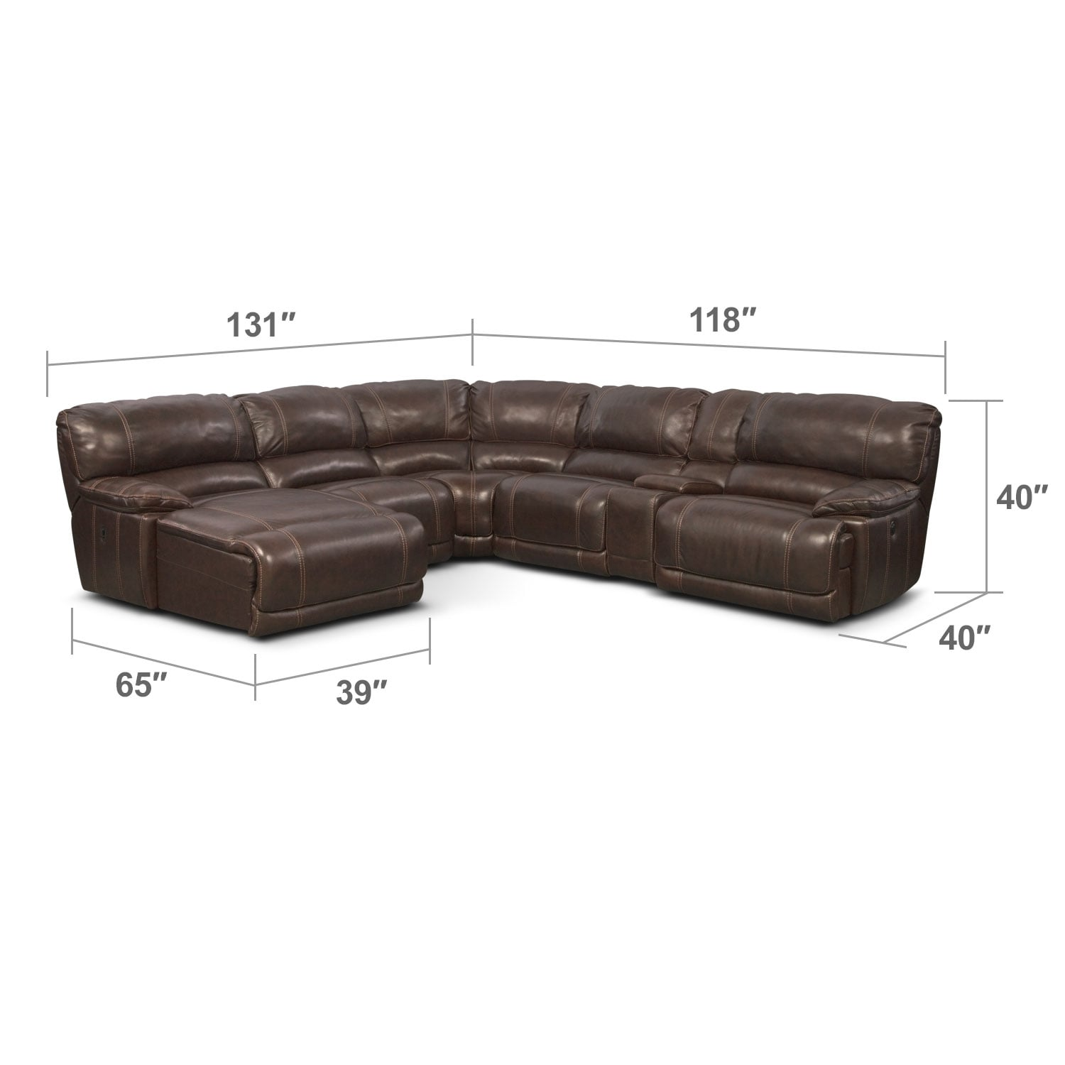 Living Room Furniture - Clinton Brown 6 Pc. Power Reclining Sectional (Reverse)
