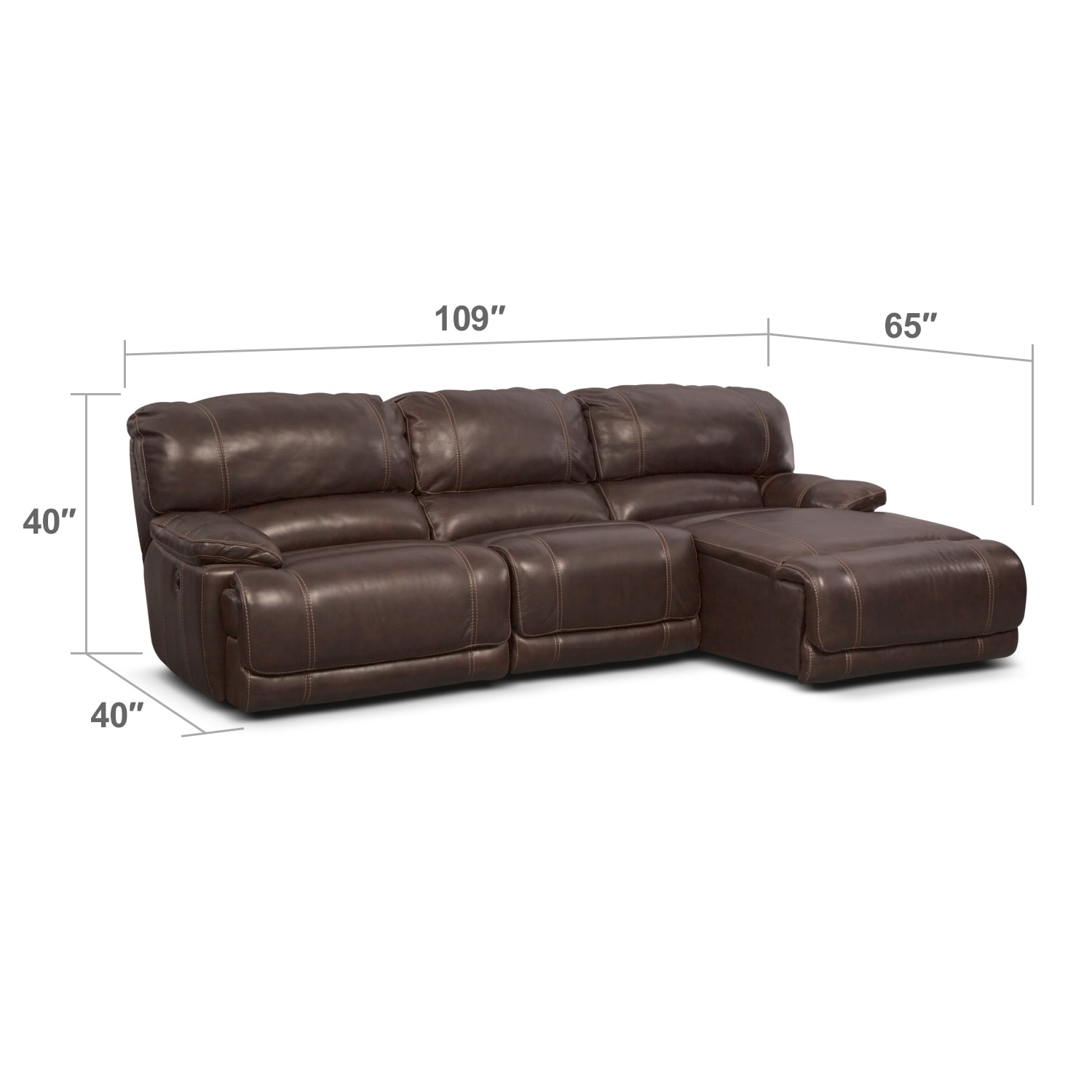Living Room Furniture - Clinton Brown 3 Pc. Power Reclining Sectional