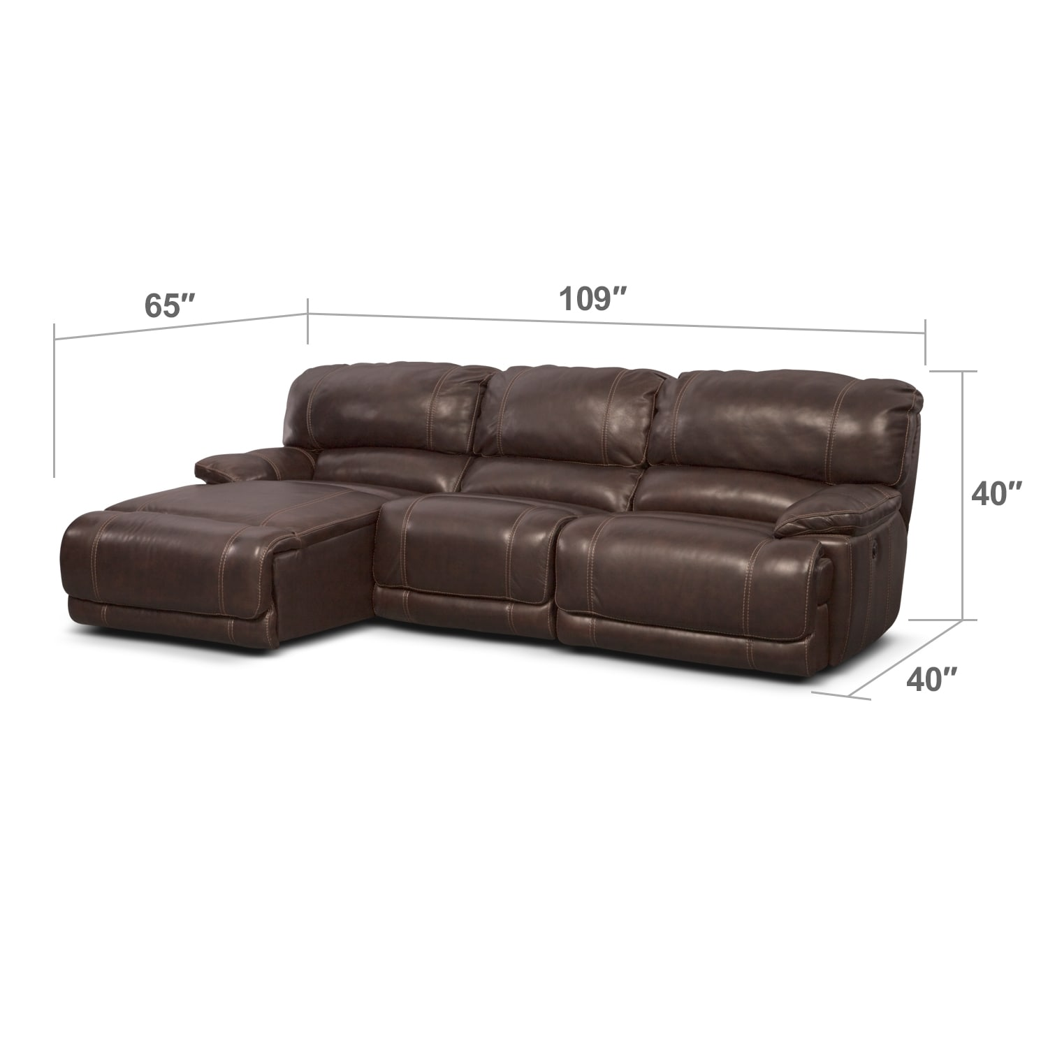 Living Room Furniture - Clinton Brown 3 Pc. Power Reclining Sectional (Reverse)