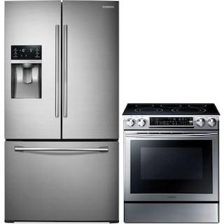 Samsung® 28 Cu. Ft. 3-Door Refrigerator and 5.8 Cu. Ft. Slide-In Electric Range Package