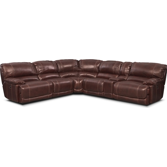 Living Room Furniture - Clinton Burgundy 6 Pc. Power Reclining Sectional (Alternate)
