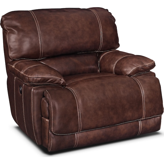 Living Room Furniture - Clinton Burgundy Power Recliner