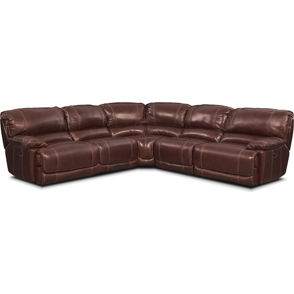 Living Room Furniture - Clinton Burgundy 5 Pc. Power Reclining Sectional
