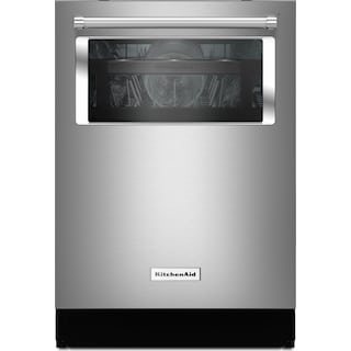 """KitchenAid 24"""" Dishwasher with Window and Lighted Interior - Stainless Steel"""