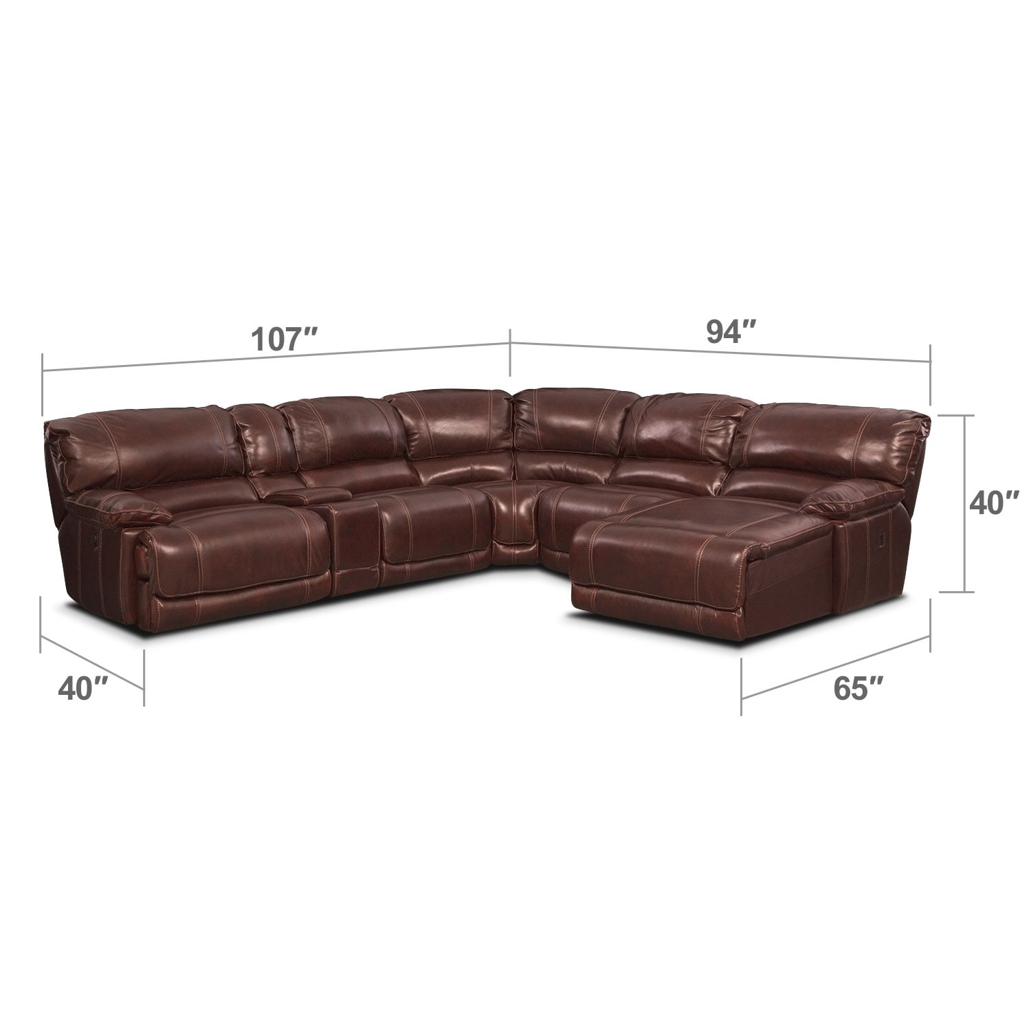 Living Room Furniture - Clinton Burgundy 6 Pc. Power Reclining Sectional