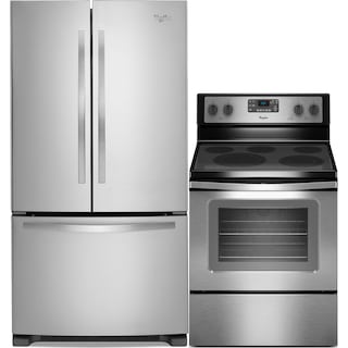 Whirlpool 22 Cu. Ft. French-Door Refrigerator and Free-Standing Convection Range - Stainless Steel
