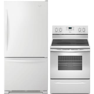 Whirlpool 18.5 Cu. Ft. Refrigerator and Free-Standing Range with Steam - White