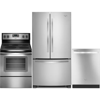Whirlpool 22 Cu. Ft. Refrigerator, 5.3 Cu. Ft. Range and Built-In Dishwasher
