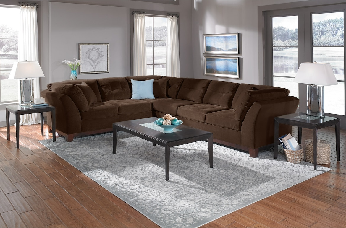 Living Room Furniture - The Brookside II Chocolate Collection - 3 Pc. Sectional