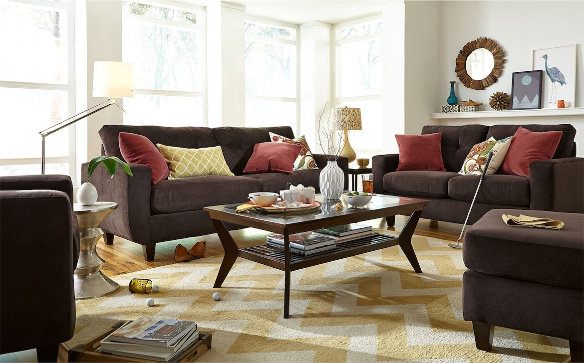 Living Room Furniture - The Walker Chocolate Collection - Sofa