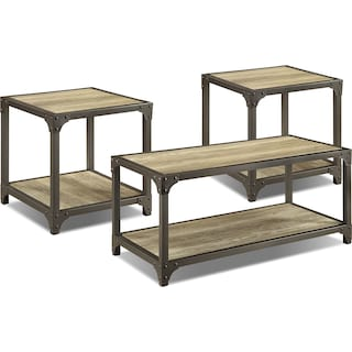 Dryden 3-Piece Coffee and Two End Tables Package