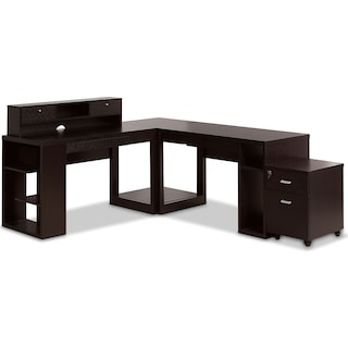 Ferndown 5-Piece Desk and File Cabinet Package