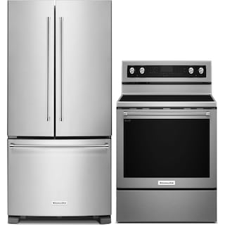 KitchenAid 22.1 Cu. Ft. French-Door Refrigerator and 6.4 Cu. Ft. Electric Range - Stainless Steel