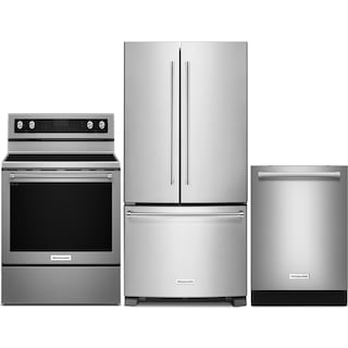 "KitchenAid 22.1 Cu. Ft. Refrigerator, 6.4 Cu. Ft. Range and 24"" Dishwasher - Stainless Steel"