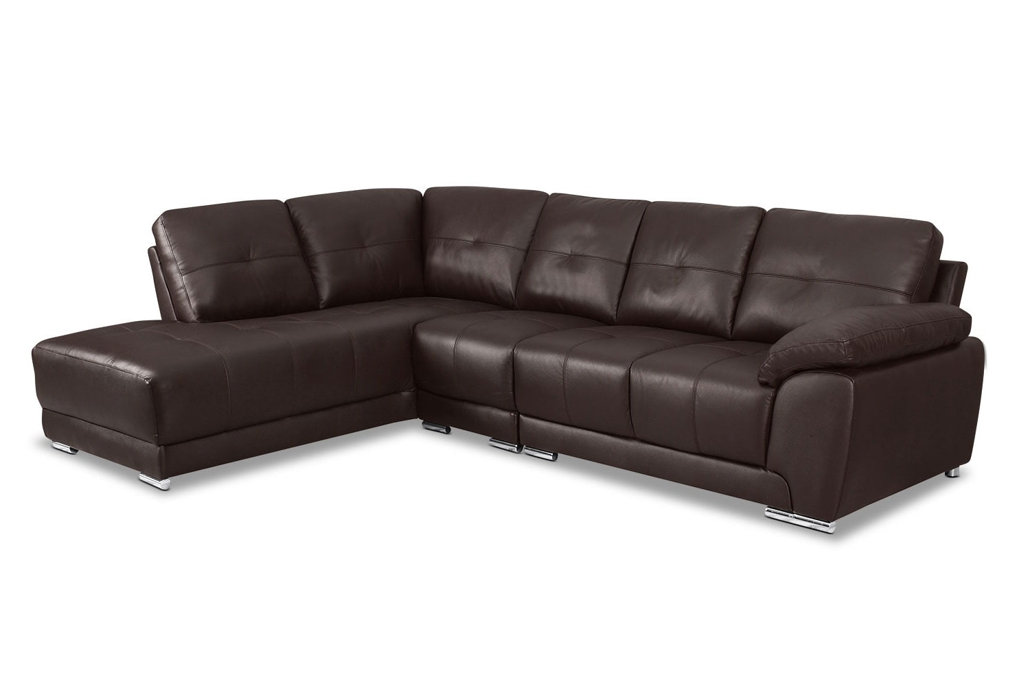 Rothwell 3 piece left facing chaise sectional brown for 3 piece leather sectional sofa with chaise