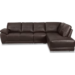 Rothwell 3-Piece Right-Facing Chaise Sectional - Brown
