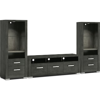 "Belfield 3-Piece Entertainment Centre with 64"" TV Opening and Open Piers - Anthracite"