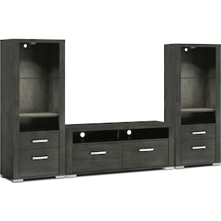 "Belfield 3-Piece Entertainment Centre with 56"" TV Opening and Open Piers - Anthracite"