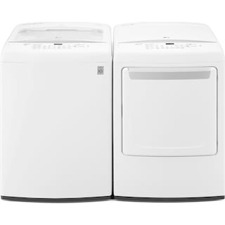 LG 5.2 Cu. Ft. High-Efficiency Top-Load Washer and 7.3 Cu. Ft. Electric Dryer – White