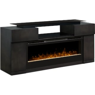 "Espanola 73"" TV Stand with Glass Ember Firebox"
