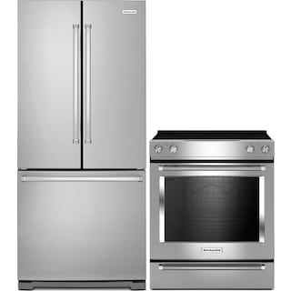 KitchenAid 22.1 Cu. Ft. French-Door Refrigerator with Slide-In Electric Range - Stainless Steel