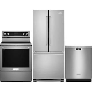 "KitchenAid 19.7 Cu. Ft. Refrigerator, 6.4 Cu. Ft. Range and 24"" Dishwasher- Stainless Steel"