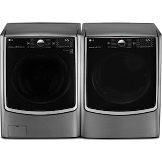 LG 5.2 Cu. Ft. Front-Load Steam® Washer and 7.4 Cu. Ft. Electric Dryer - Graphite Steel