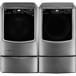 LG 6.0 Cu. Ft. Washer, Pedestal Washer and 9.0 Cu. Ft. Electric Dryer – Graphite Steel