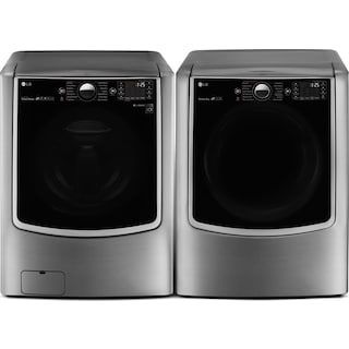 LG 6.0 Cu. Ft. Front-Load Steam Washer and 9.0 Cu. Ft. Electric Dryer – Graphite Steel